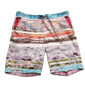 Robert Graham Pilot Rock Stripe Print Board Shorts